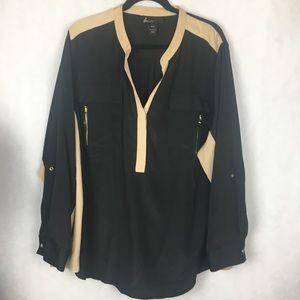 Lane Bryant Black & Tan Zip Pocket blouse. 26/28